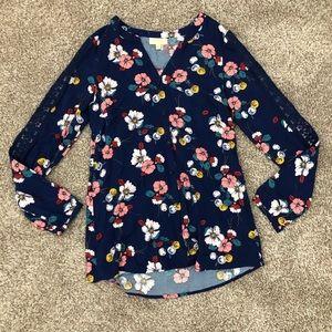 ModCloth Lace Sleeve Button Down Floral Blouse